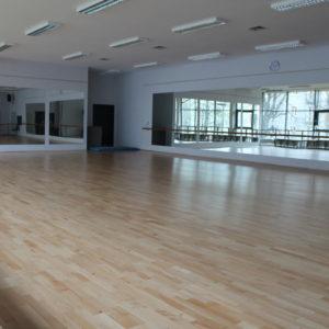 Zdjęcie przedstawia wnętrze sali baletowej