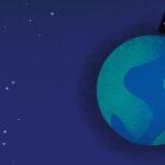 grafika przedstawiająca ziemię na tle niebieskiego nieba , w ziemię wbita jest tabliczka z napisem HELP