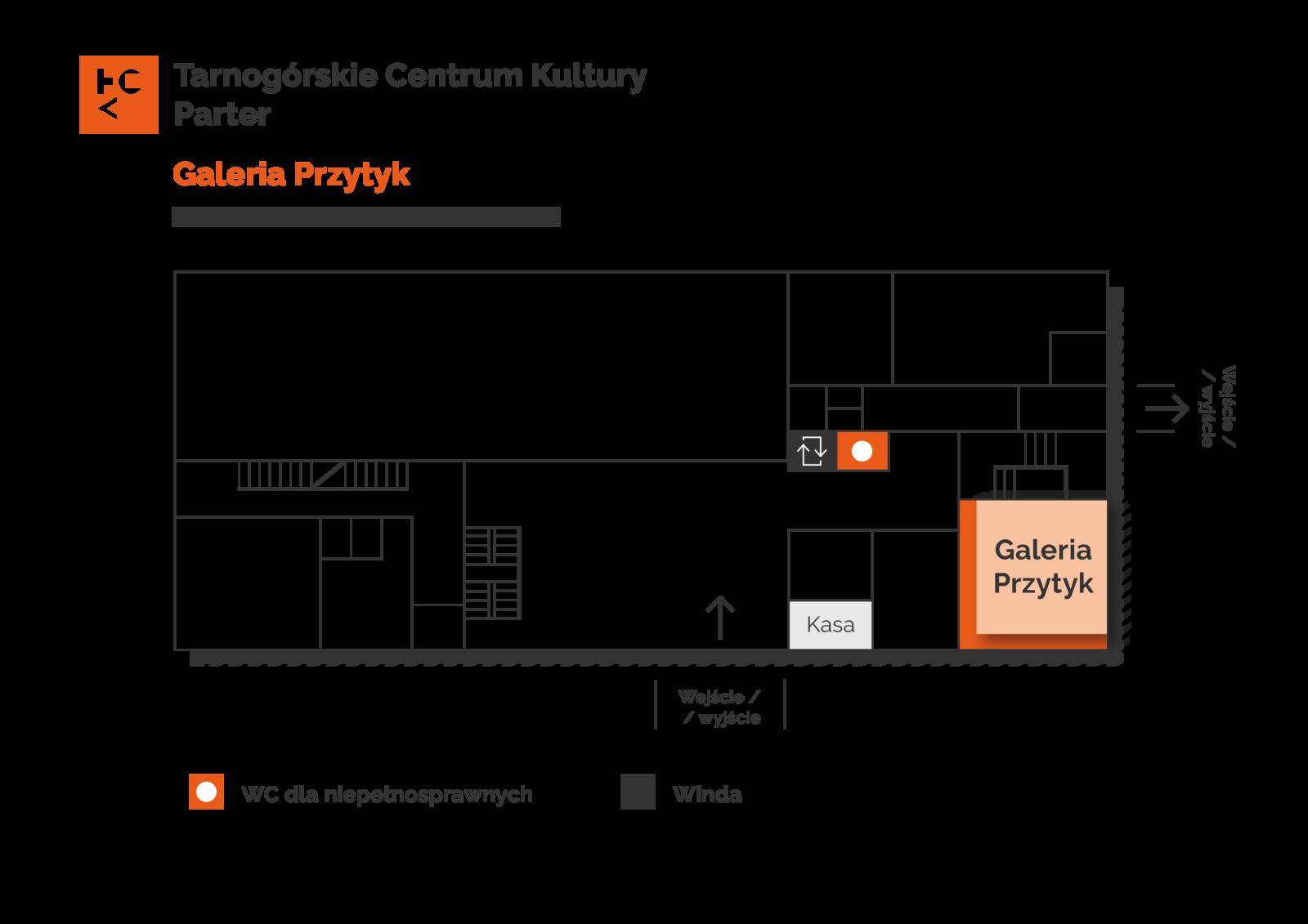 Grafika przedstawia plan parteru budynku TCK z zaznaczeniem Galerii Przytyk
