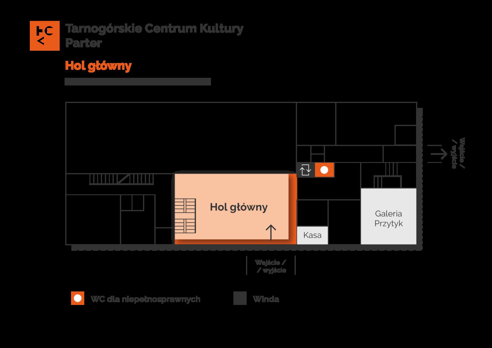 Grafika przedstawia plan parteru budynku TCK z zaznaczeniem holu głównego