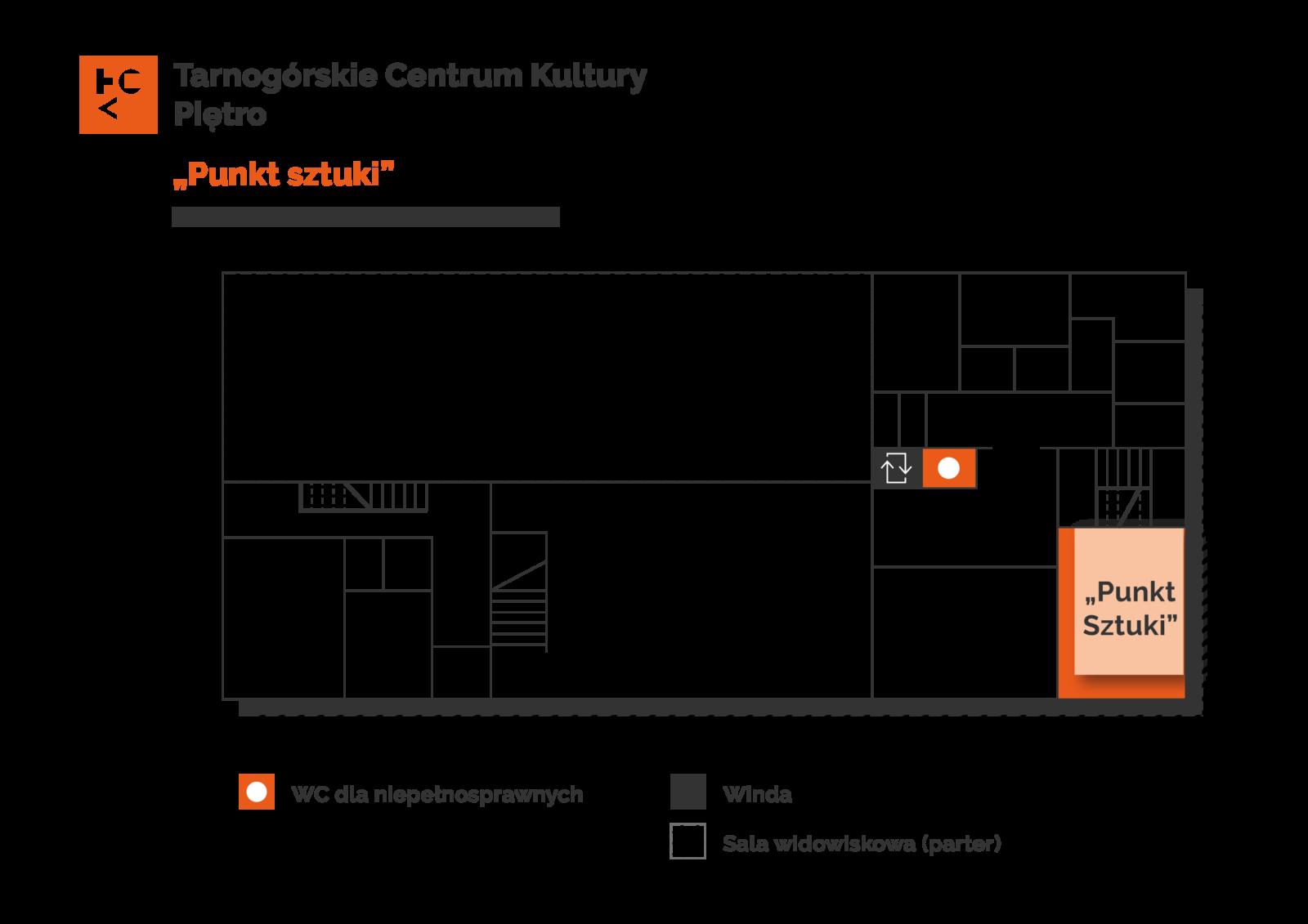 Grafika przedstawia plan pierwszego piętra budynku TCK z zaznaczeniem