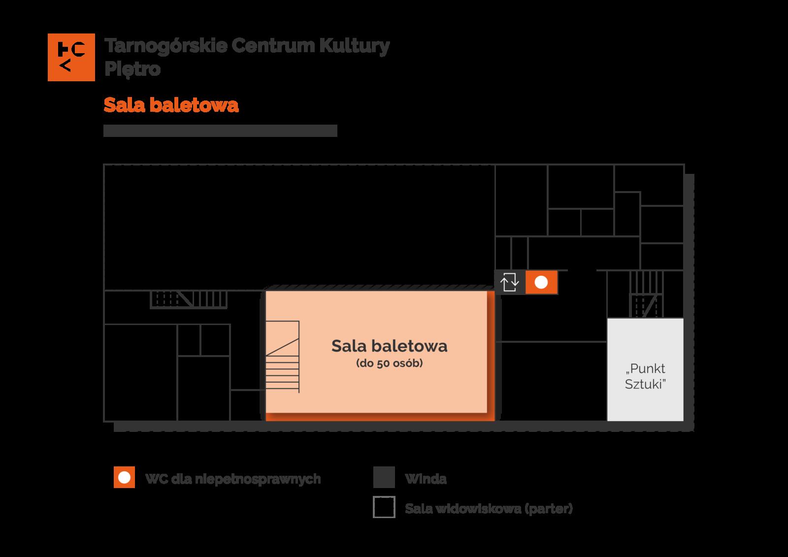Grafika przedstawia plan pierwszego piętra budynku TCK z zaznaczeniem sali baletowej