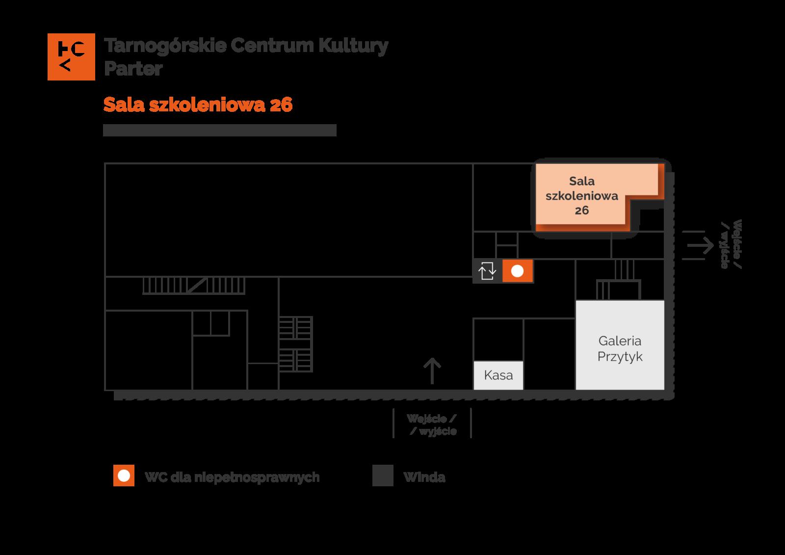 Grafika przedstawia plan parteru budynku TCK z zaznaczeniem sali szkoleniowej