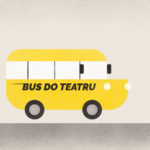 grafika z żółtym autobusem i napisem Bus do teatru