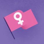 grafika z fioletowym tłem i różową flagą z symbolem kobiecości