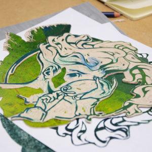 Zdjęcie przedstawia odbitkę linorytu powstałą podczas warsztatów graficznych