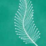 Grafika przedstawia zarys ozdobnego pióra na turkusowym tle