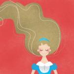 grafika z czerwonym tłem i dziewczynką o blond włosach i niebieskiej sukience