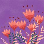 grafika z fioletowym tłem i czerwonymi kwiatami