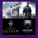grafika z fioletowym tłem i zdjęciami z gier Gladiator, Wiedźmin