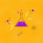 grafika z żółtym tłem i fiolką zawierająca fioletowy płyn
