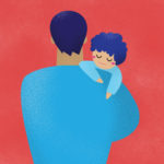 grafika z czerwonym tłem przedstawiająca mężczyznę trzymającym dziecko na rękach
