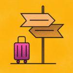 grafika z żółtym tłem i kierunkowskazami oraz fioletową walizką na kółkach