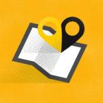 grafika z żółtym tłem i mapą