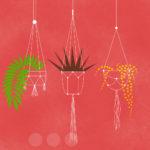 Grafika na z czerwonym tłem przedstawia trzy doniczki wiszące na ręcznie zrobionych sznurkoywch kwietnikach - makramach