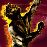 """Grafika przedstawia fragment plakatu wystawy """"Dziejemy się"""" Ewy Jaworskiej. Na wiśniowym tle znajduje się postać płonącego mężczyzny z uniesioną do góry głową i ręką"""
