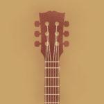 grafika przedstawiająca gitarę na brązowym tle