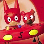 """Grafika z filmu animowanego """"SamSam"""" przedstawiająca czerwony statek kosmiczny z głównym bohaterem i misiem w środku"""