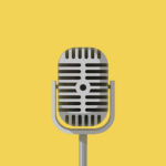 grafika srebrnego mikrofonu na żółtym tle