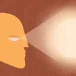 grafika promująca wydarzenie SF TG 2021, kontur twarzy z otwartymi oczyma z których pada światło