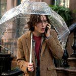 """kadr z filmu """"W deszczowy dzień w Nowym Jorku"""" na zdjeciu aktor Timothee Chalamet stoi pod parasolem i rozmawia przez telefon"""