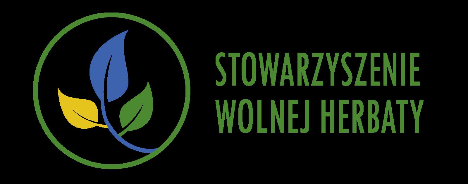 Logotyp przedstawiający napis zielony Stowarzyszenie Wolnej Herbaty i okrągła zieloną ramkę. W ramce znajduje się ilustracja łodygi z trzema liśćmi - żółtym, zielonym, i niebieskim.